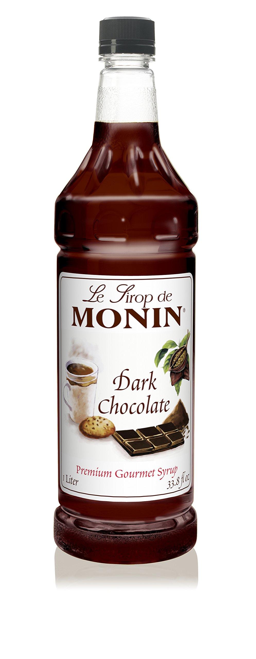 Monin - Dark Chocolate Syrup, Rich Cocoa Flavor, Great for Lattes, Mochas, Smoothies, & Shakes, Vegan, Non-GMO, Gluten-Free (1 Liter)