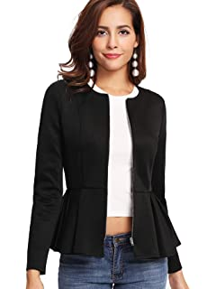 Womens Ladies Zip Peplum Ruffle Plus Size Tailored Blazer Jacket Top Size 6-24