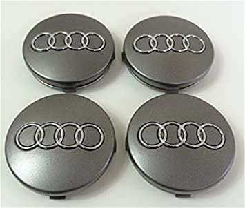 Set of Four Audi Alloy Wheels Centre Hub Caps Grey Covers Badge 60 mm 4B0 601