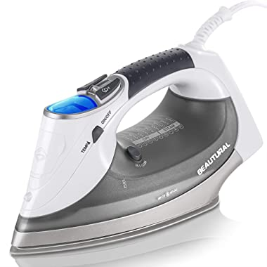 Beautural 1800-Watt Steam Iron with Digital LCD Screen, Double-Layer and Ceramic Coated Soleplate, 3-Way Auto-Off, 9 Preset Temperature and Steam Settings for Variable Fabric
