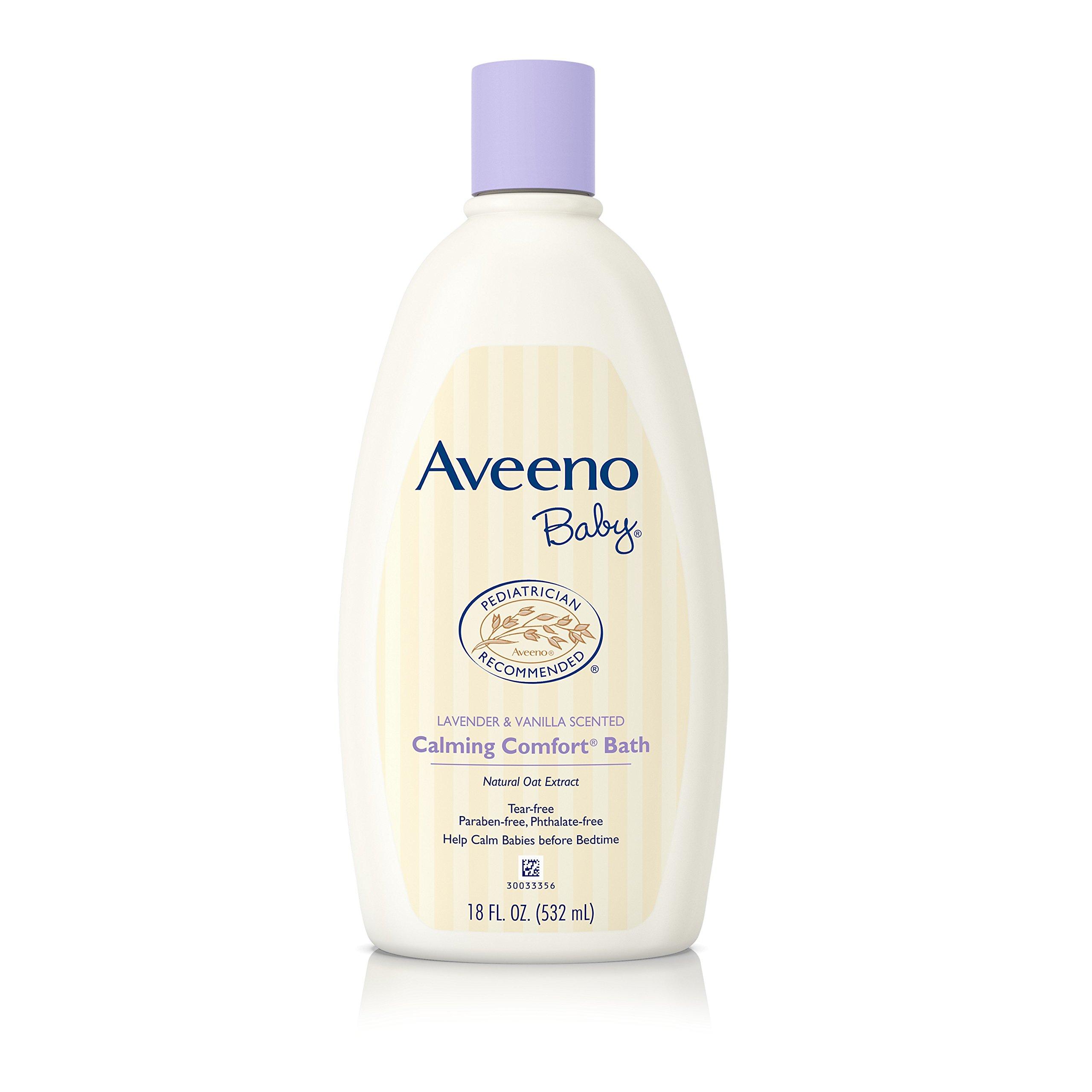 Aveeno Baby Calming Comfort Bath with Lavender & Vanilla, Hypoallergenic & Tear-Free, 18 fl. oz