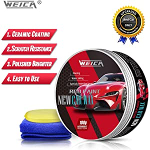 WEICA Car Wax Red Solid for Red Cars, Carnauba Car Wax Kit Cleaner, Car Waxing Scratch Resistance Auto Ceramics Coating 180g with Free Waxing Sponge and Towel-Red