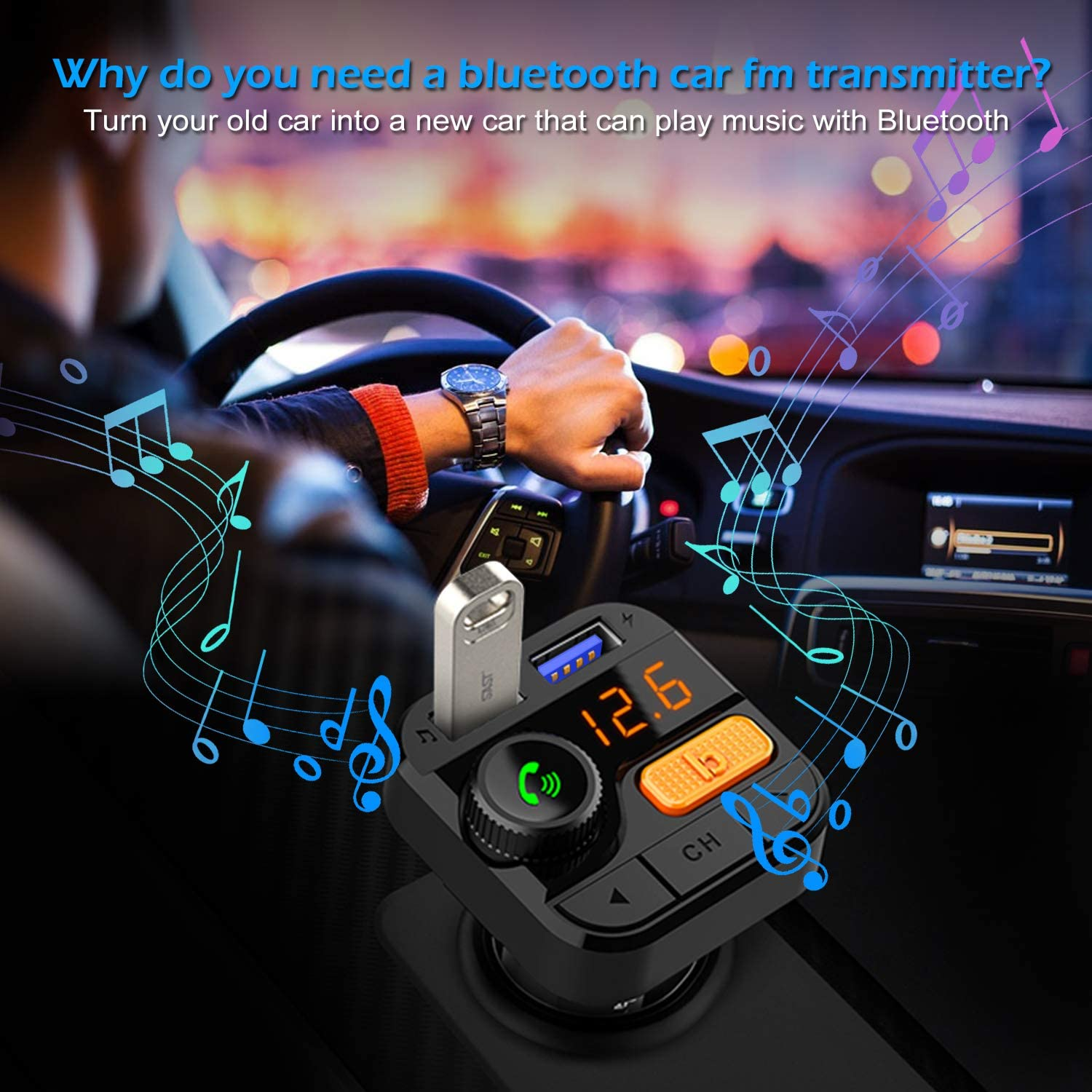FITNATE Car Bluetooth FM Transmitter,Upgraded Version Bluetooth5.0 Wireless Car FM Radio Music Player,Super Bass Support Hands-Free Calling
