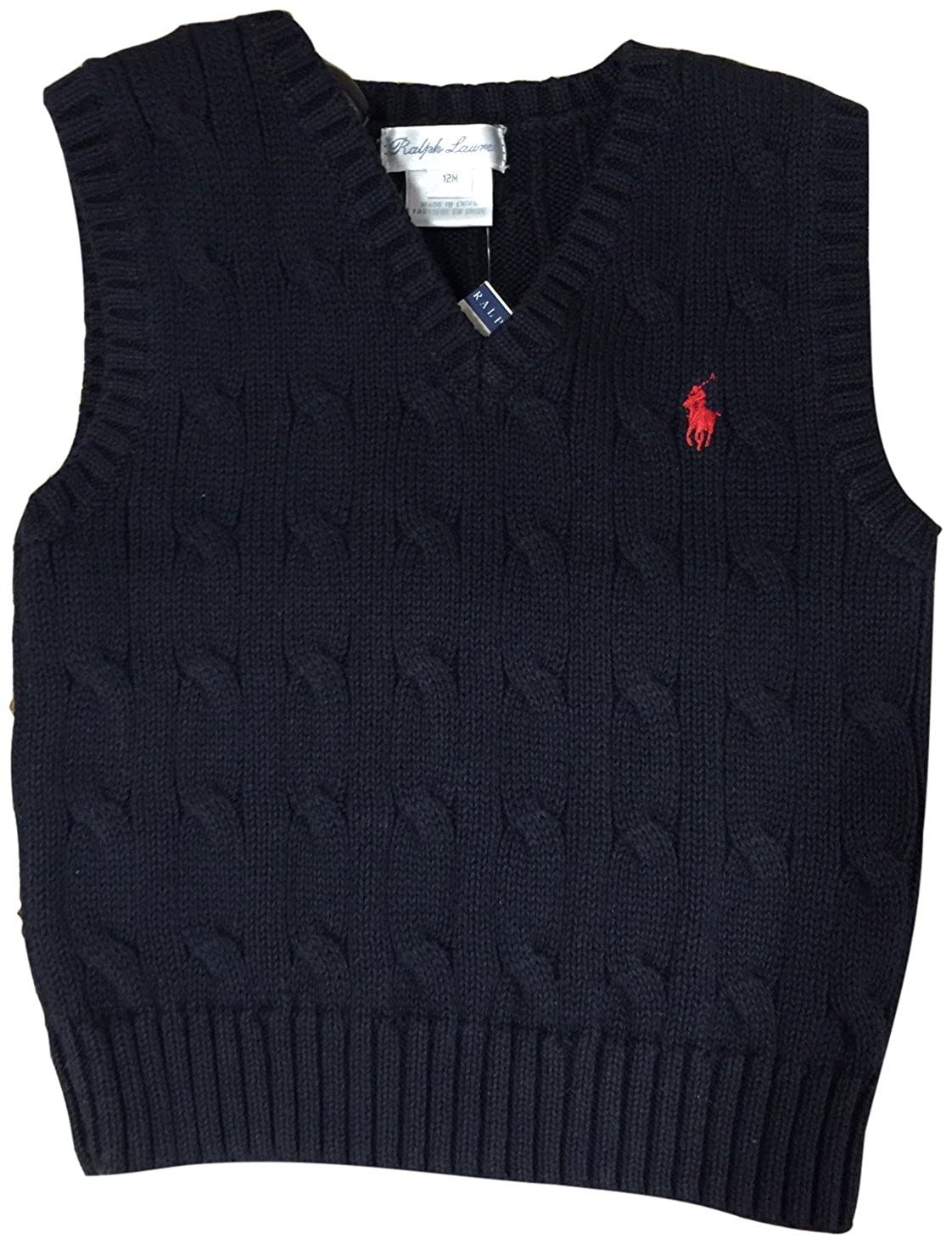 Polo Ralph Lauren Baby Boys' Cable-Knit Cotton Sweater Vest Hunter Navy