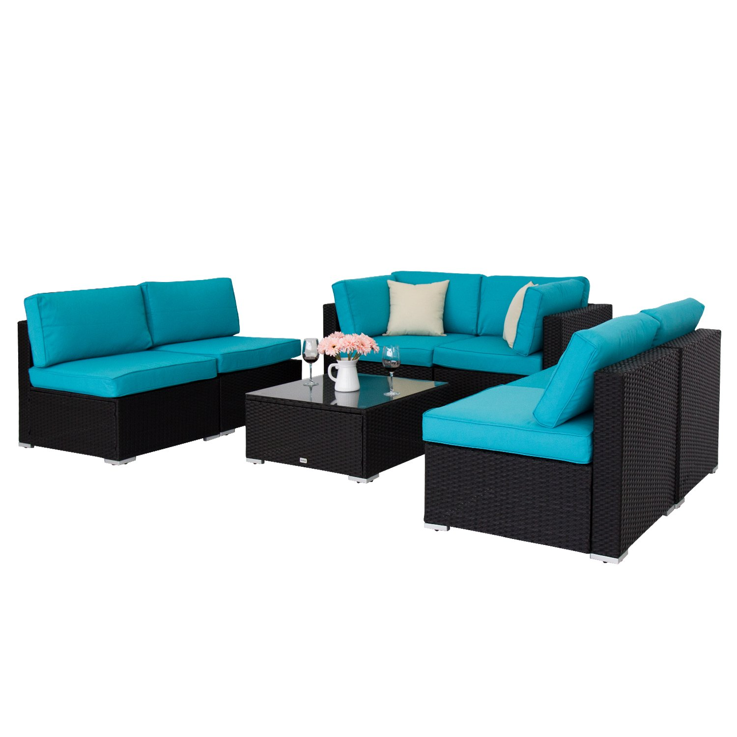 Peach Tree 7 PCs Outdoor Patio PE Rattan Wicker Sofa Sectional Furniture Set With 2 Pillows and Tea Table by Peachtree Press Inc (Image #5)