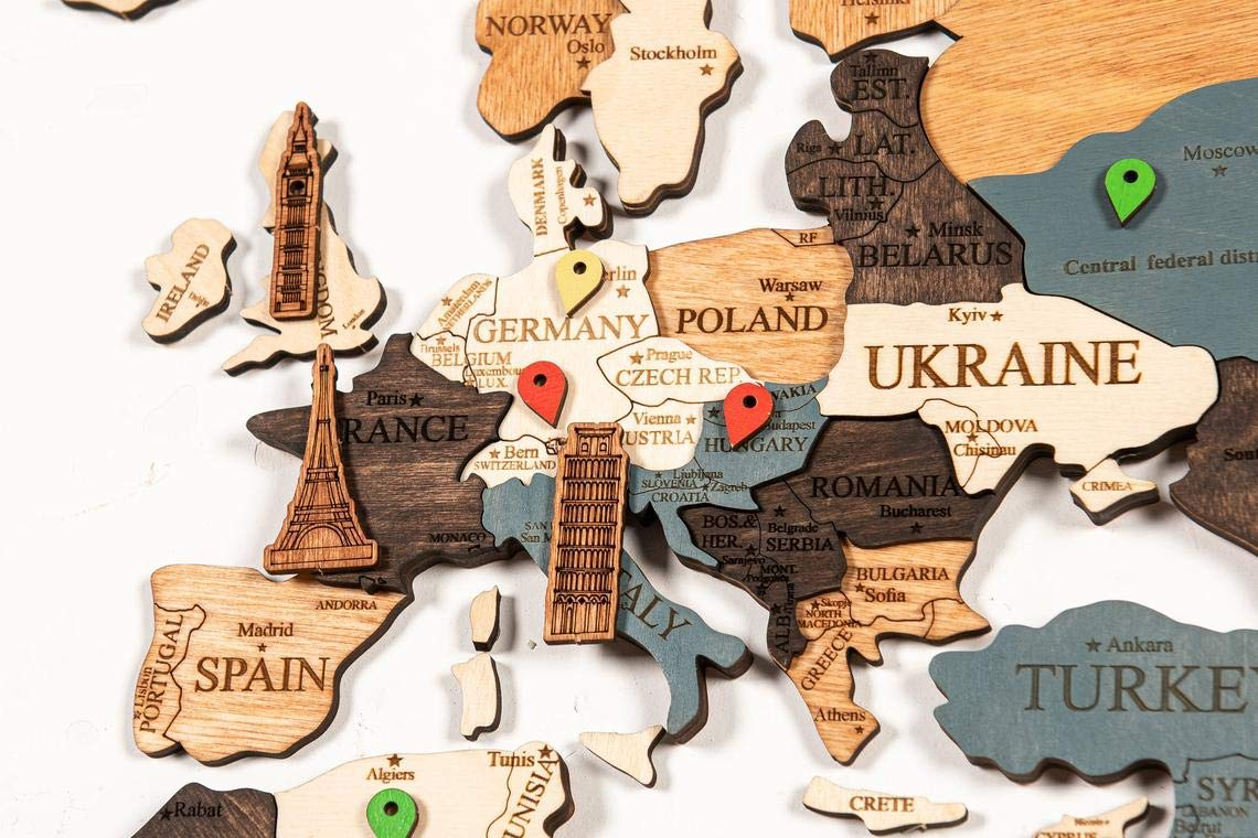 World Map Wall Wooden Map of the World Map Wooden Travel Push Pin Map Rustic Home Wood Wall Art Wall Art Decor Christmas Gift Christmas Decor