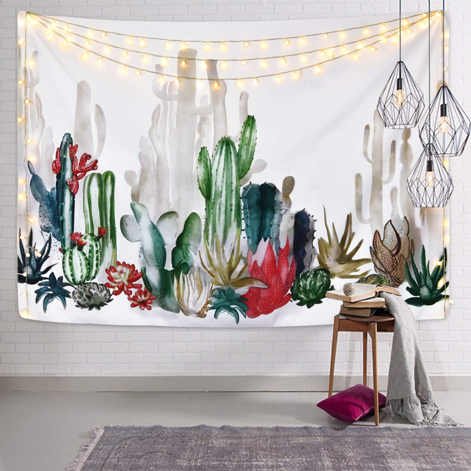 Smurfs Yingda Cactus Tapestry Cactus Plant Printed Tapestry Succulents Tapestry for Bedroom Living Room