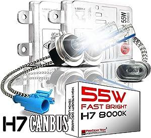 H7 55W Heavy Duty Fast Bright CANBUS HID Bulbs bundle with AC Slim Ballasts No OBC Error (H7, 8000K)