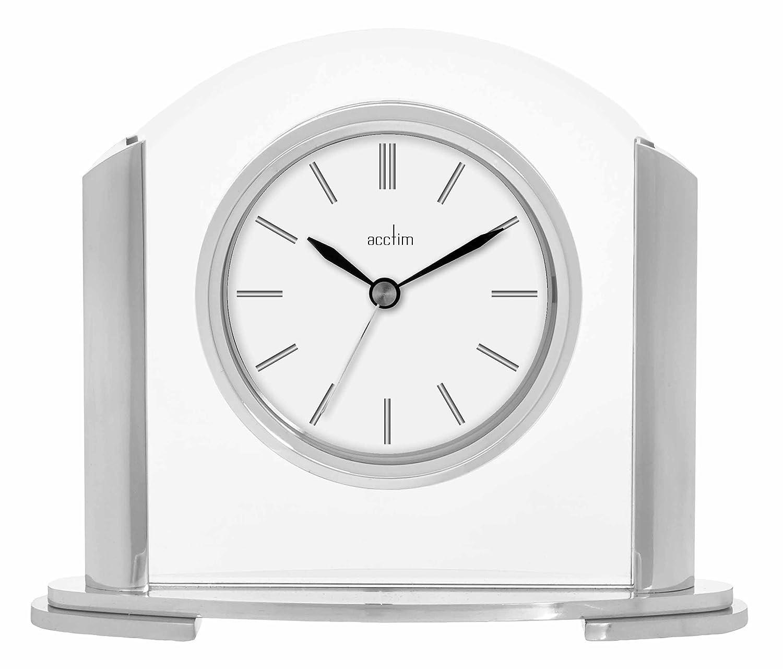 Silver Finish Acctim Quartz Battery Mantle Mantel Clock 36847 Riccia