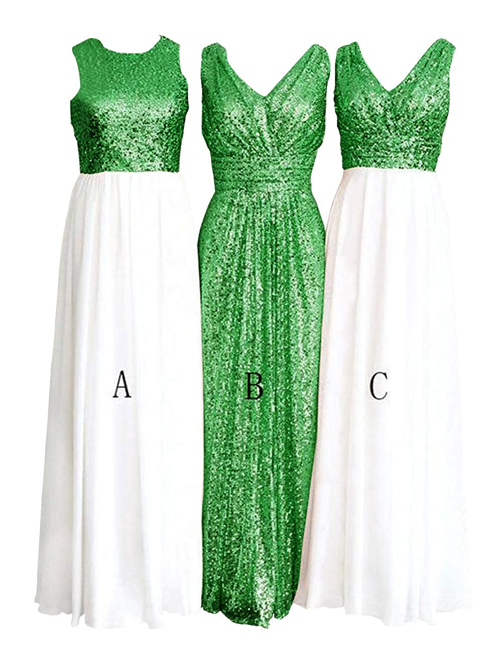 Awhite and Green H.S.D Women's pink gold Sequins Paillettes Long Bridesmaid Party Prom Dress