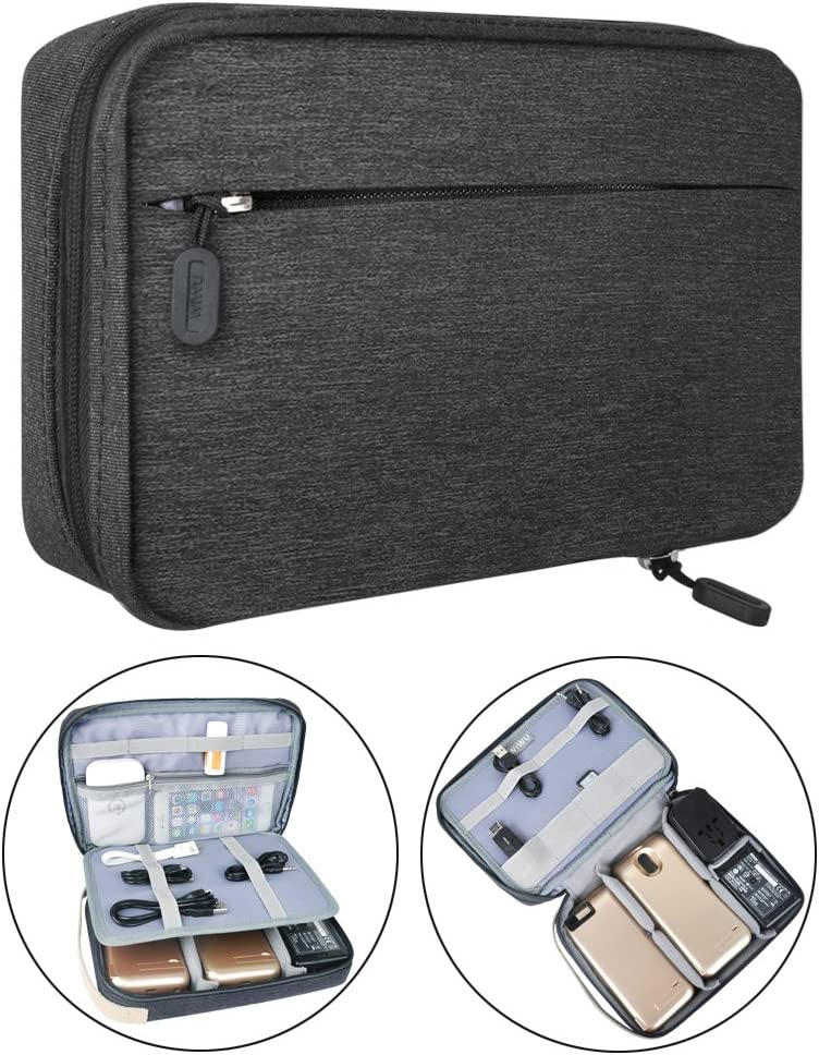 Electronic Organizer Travel Packing Bag – Luxsure Double Layer Travel Gadget Carry Bag for Accessories,Ipad Ipad Pro Mini, USB Cables, Plugs, Earphone, Power Bank, Flash Hard Drive Large 11