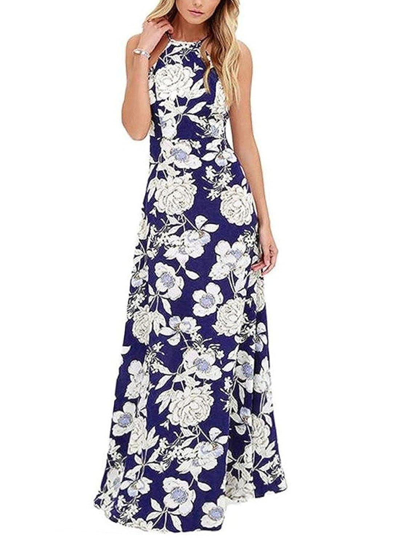 Luojida Sommerkleider Damen Lang Strand Abendkleid Schulterfrei Maxikleid Off Shoulder Elegant Blumendruck
