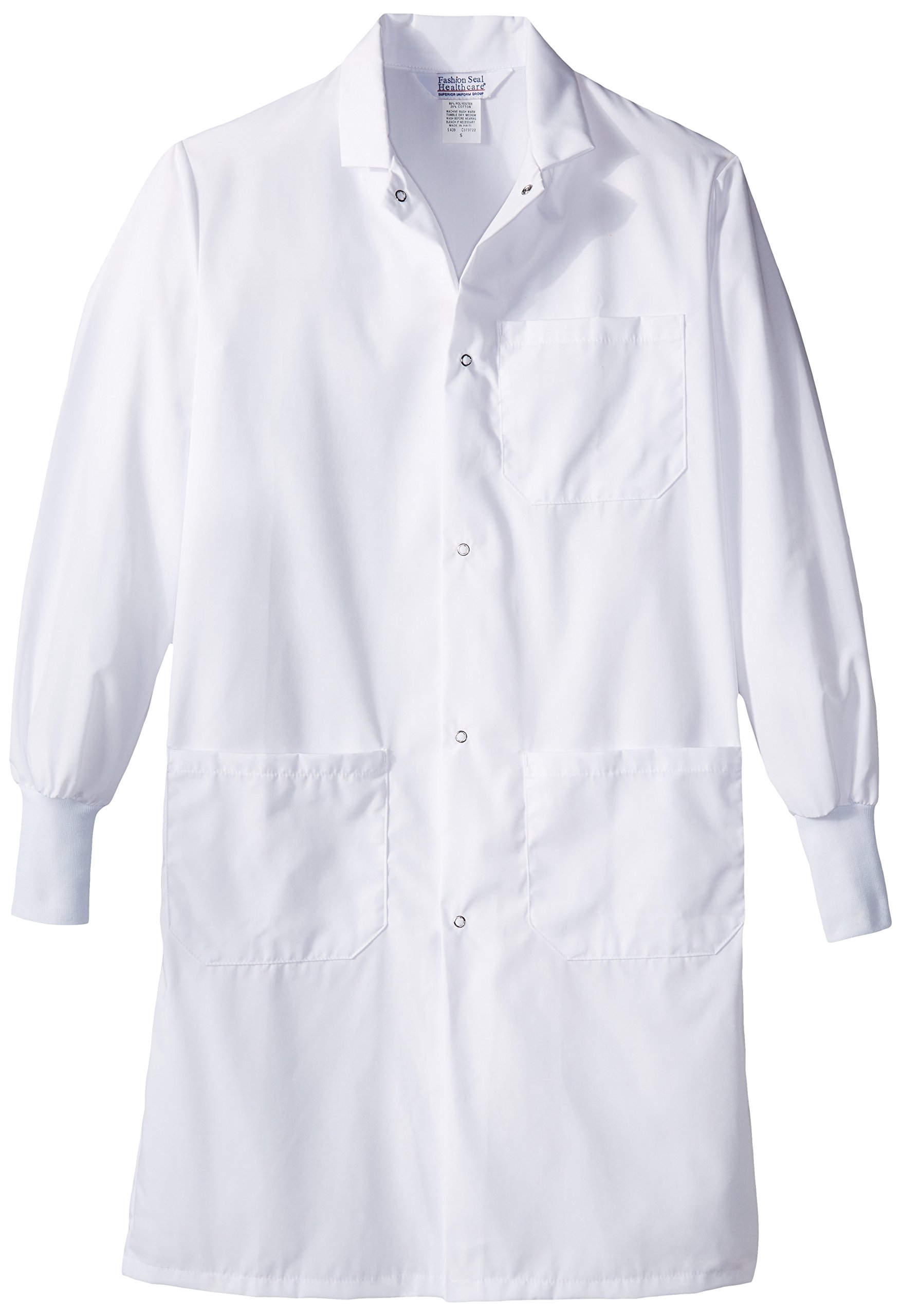 Worklon 439S Polyester/Cotton Lab Coats with Convertible Collar, 41'' Length, Small, White
