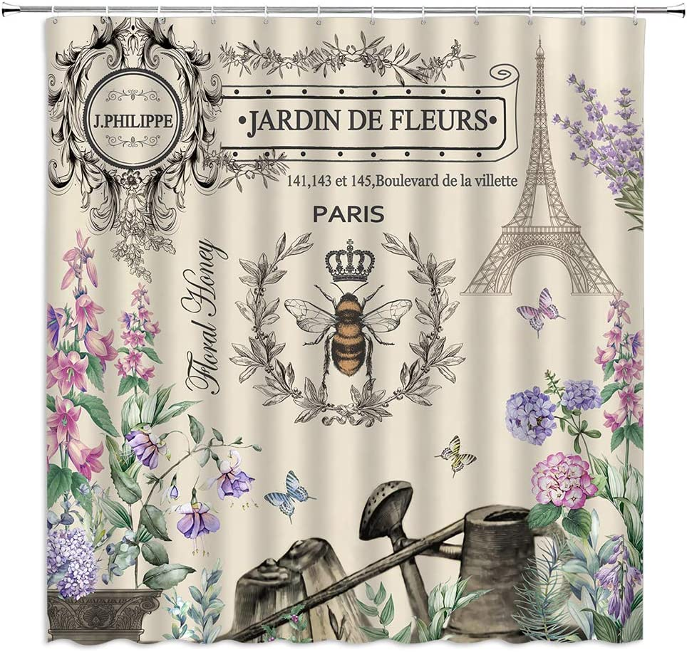 BYLLLFIR Paris Bee Garden Shower Curtain Eiffel Tower Vintage Queen Watering Can French Country Rustic Nature Decor,Fabric Bathroom Set with Hooks 70x70 Inch,Beige