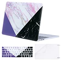 Mosiso MacBook Pro 13 Case 2018 2017 2016 Release A1989/A1706/A1708, Plastic Hard Case Shell with Keyboard Cover with Screen Protector for Newest MacBook Pro 13 Inch, Pink Marble with Purple Black