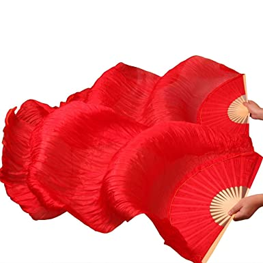 2ea546e0d Amazon.com: Women Chinese Belly Dance Fan Veils Red 1 Pair Fire Color 1.5 M  (Red): Clothing