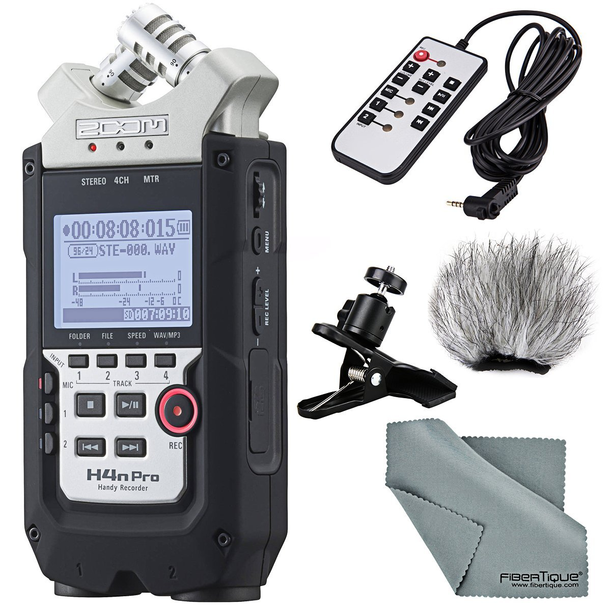 ZOOM H4N PRO Handy 4-Channel Recorder Bundle with Remote + Windscreen + Multi-function Clip Clamp + FiberTique Cleaning Cloth