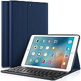 KuGi iPad 9.7 2017 キーボード 専用 Bluetooth キーボード ケース スタンド機能カバー Apple iPad 9.7インチ 2017モデル ワイヤレス 一体型 脱着式 手帳型 PUレザーケース付き 電池内蔵 持ち運び便利 無線キーボード 新型 iPad 9.7 2017 インチ Tablet 対応 (iPad 9.7 2017, ネイビー)