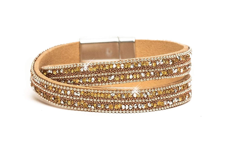 Damen Armband Wickelarmband Magnetarmband Stern Perle Strass Waben