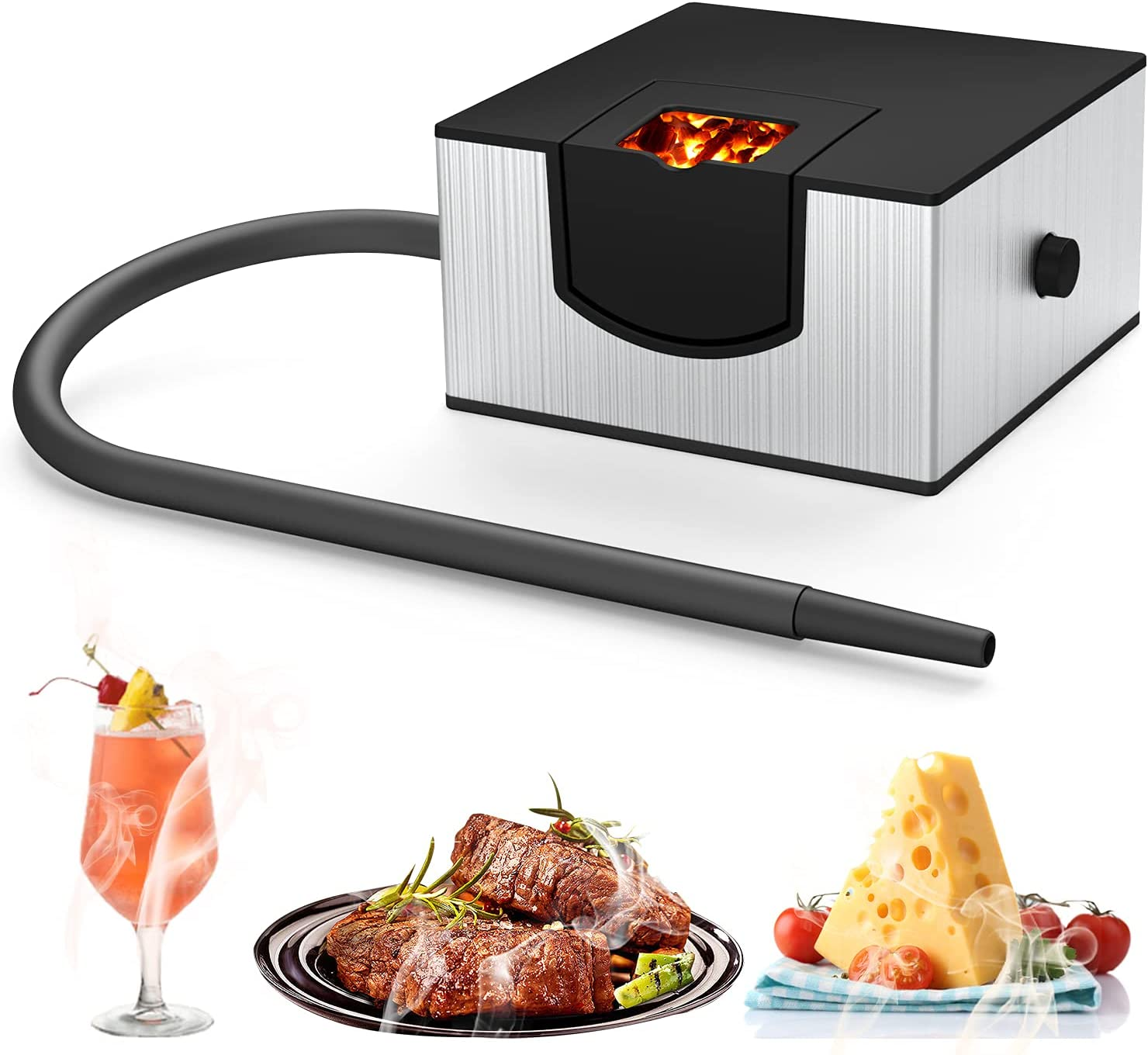 Cocktail Smoker, Wancle Smoking Gun Smoke Infuser for Food Handheld Cold Smoker for Meat, Cheese & Cocktails,Food Smoker Gun for Indoor Kitchen & Outdoor BBQ(Silver)