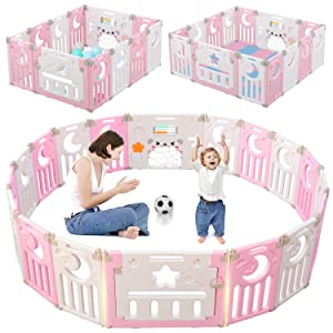 Baby Playpen, Dripex Upgrade New Clips Design Foldable Kids Activity Centre Safety Play Yard Extendable Baby Fence Play Pen with Gate(14-Panel, Pink + White)