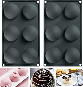 6 Holes Sphere Silicone Large Mold For Hot Chocolate Bombs, Cake, Jelly, Pudding, Handmade Soap, Round Shape Half Sphere Mold Non Stick, BPA Free, 2PCS Black