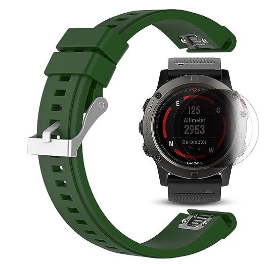 2 opinioni per Garmin Fenix 5X Band con protezione dello schermo, braccialetto in silicone