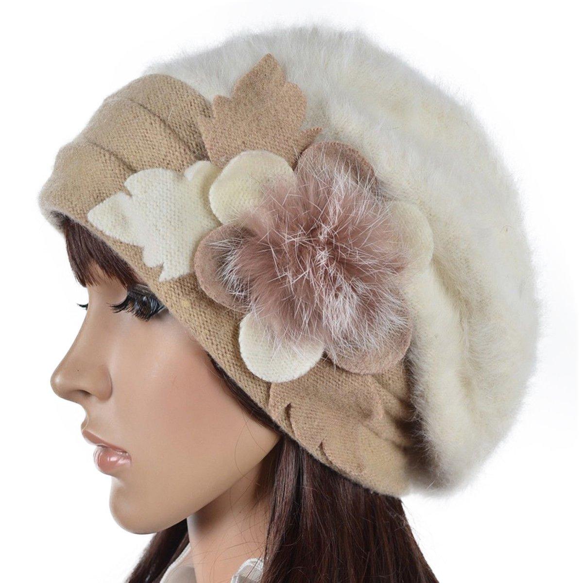 Women's French Beret - 100% Wool Cloche Hat - Beret Beanie for Winter C020 (Br022-Cream)