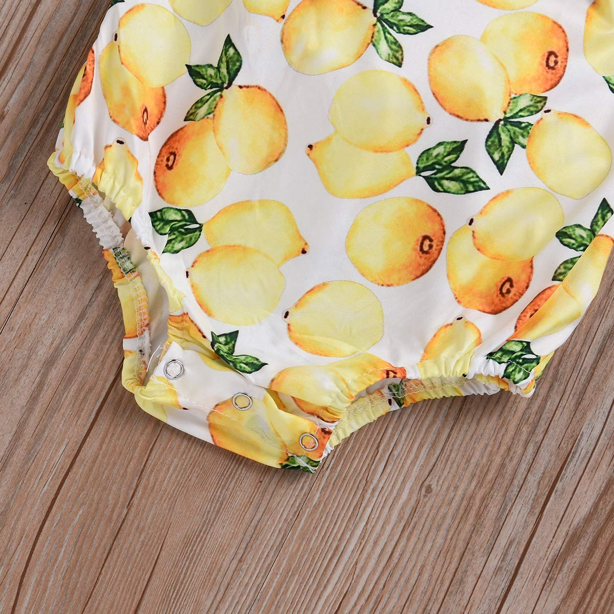 Newborn Onesie Summer Clothes Headband Outfit with Bowknot Kissybaby Baby Girl Lemon Romper