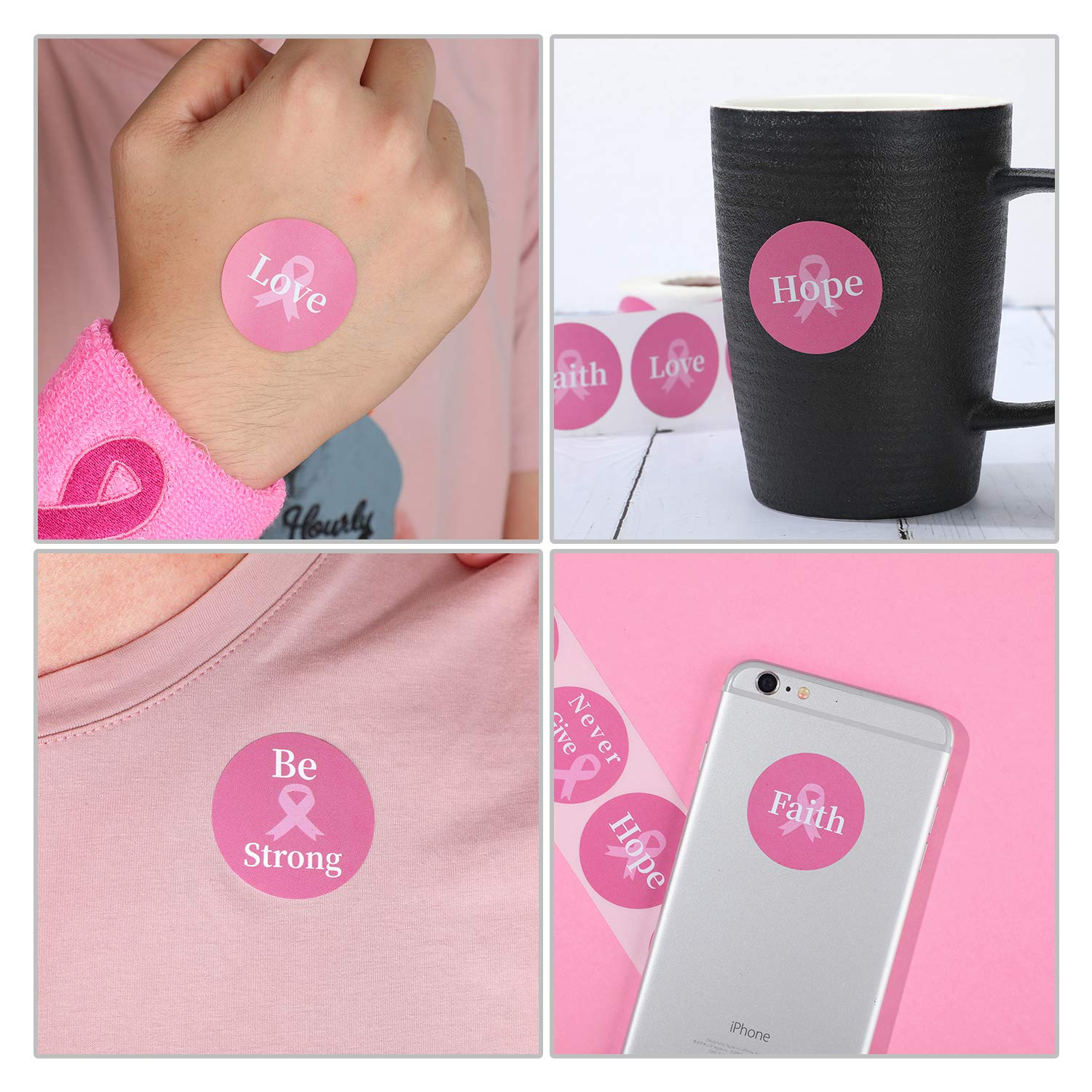 Outus 500 Pieces Breast Cancer Awareness Stickers Pink Round Ribbon Stickers