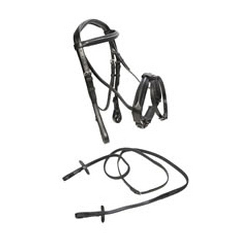 Black UK Size  Cob Black UK Size  Cob Caldene Bridle Flash Crank With Rubber Reins (UK Size  Cob) (Black)