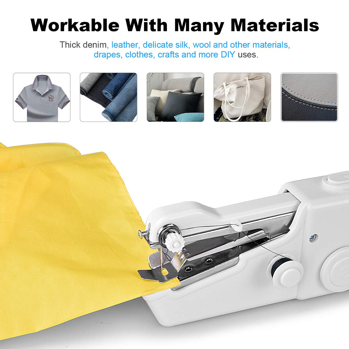 Mini Handheld Stitch Machine Portable Electric Stitch Household Tool for Clothing Fabric Curtain DIY Crafts White