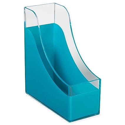 Richards Homewares Modern Desk Organizer Magazine File Holder - Clear/Blue