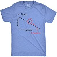 Find X T Shirt Funny Saying Math Teacher Graphic Sarcastic Gift Novelty Dad Joke (Heather Light Blue) - S