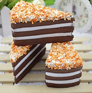 Skyseen 3PCS Fake Cake Artificial Chocolate Mousse Cake in Triangle Shape Model Decoration Kitchen Toys Prop