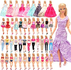 Barwa 21 Accessories Selected Randomly for 11.5 Inch 30 cm Dolls: 5 Fashion Dresses + 5 Clothes + 5 PCS Pants + 3 Wedding Dresses + 3 Swimsuits