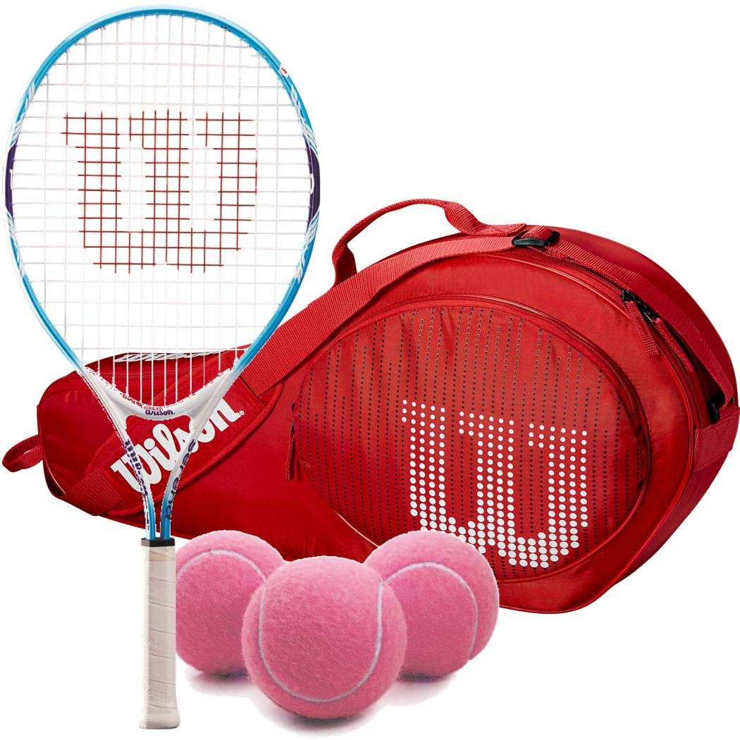Wilson Serena Williams Girl's 19 Inch Junior Tennis Racquet Bundled with a Red Kid's 3-Pack Tennis Bag and a Can of Pink Tennis Balls