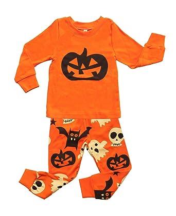 339cbffb420d Amazon.com  DD-CM Little Boys  Halloween Pumpkin Two Piece Pajama ...