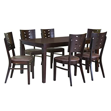 @home by Nilkamal Fern 6 Seater Dining Table Set (Erin Brown)