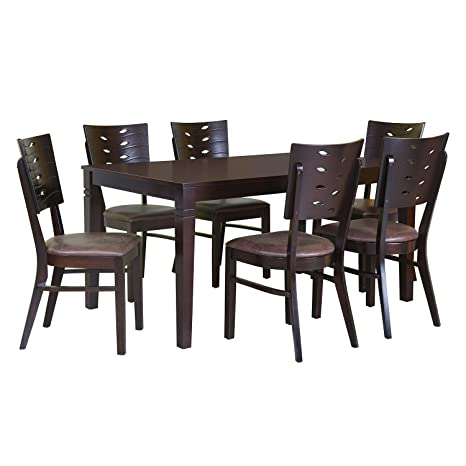 979baa57803  home by Nilkamal Fern 6 Seater Dining Table Set (Erin Brown)  Amazon.in   Home   Kitchen