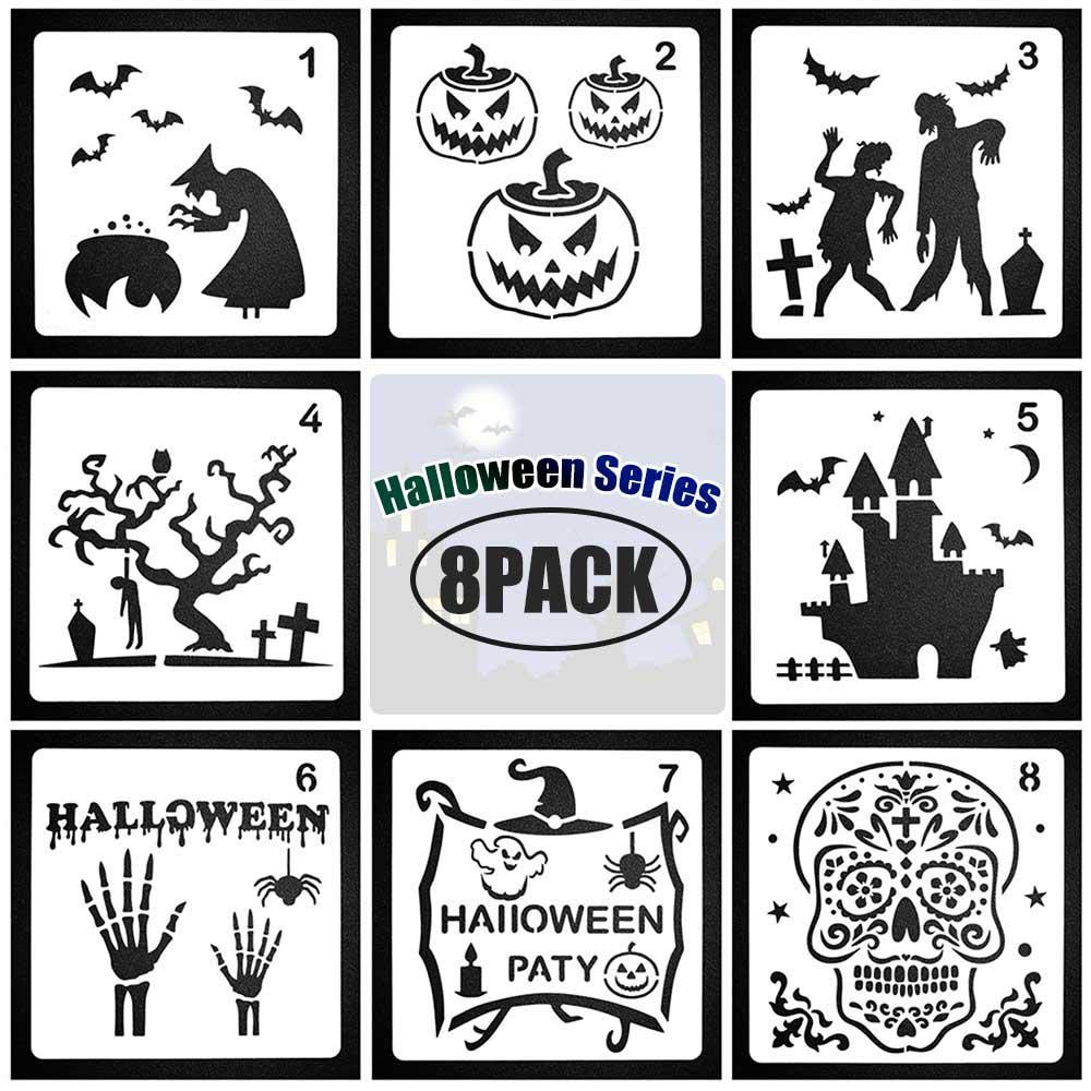 8 Pcs Different Halloween Pumpkin Stencils for Painting On Wood Home Decor Craft Cards Making Volwco Halloween Drawing Painting Stencils Scale Template Sets Human Body Painting