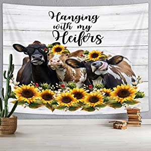 VEIVIAN Farm Animal Cow Tapestry, Cute Cattle Flowers Funny Quote Wall Tapestry, Rustic Wooden Farmhouse Hippie Small Tapestry for Bedroom Living Room College Dorm Decor, 60X40IN