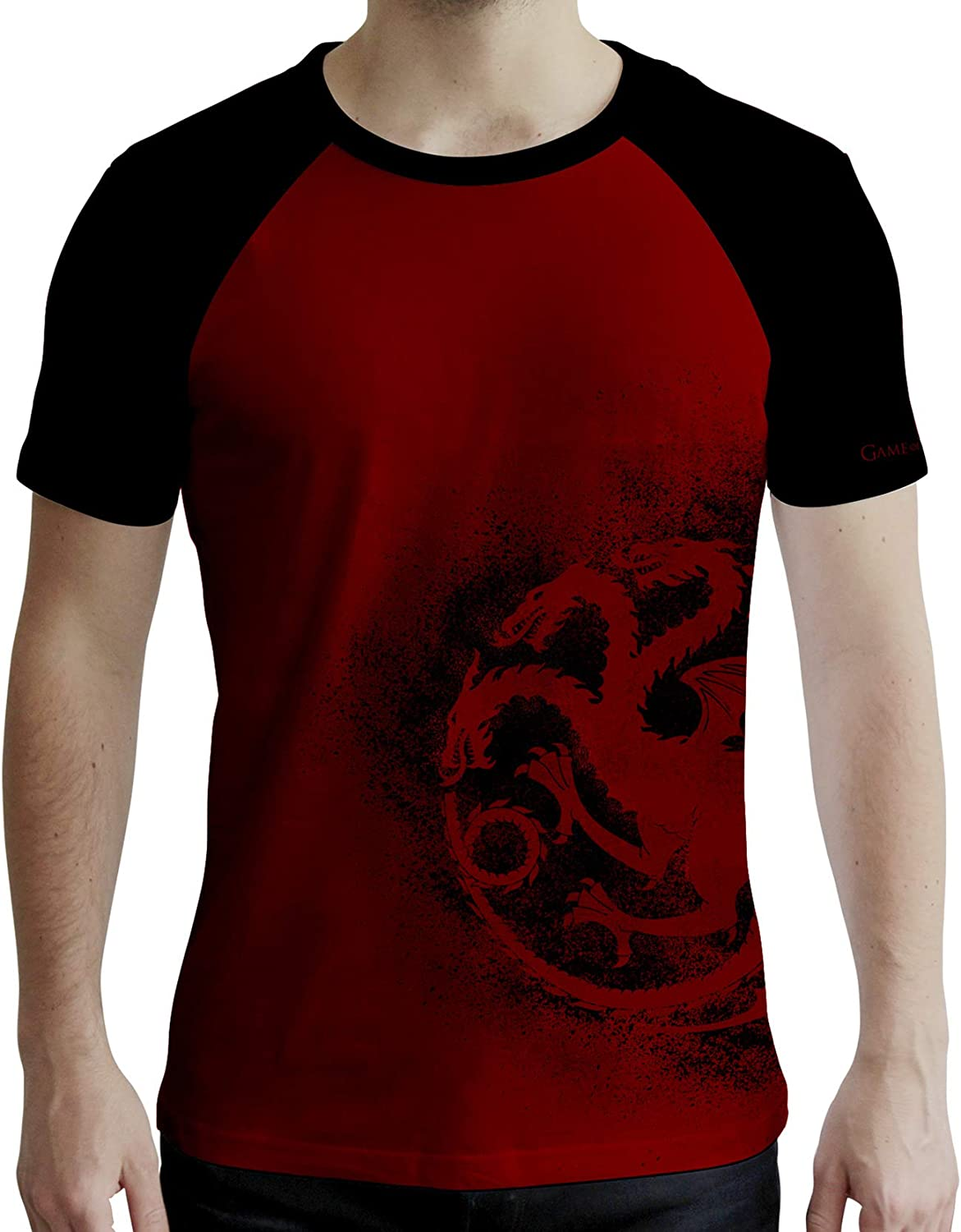Game of Thrones ABYstyle Targaryen Uomo Rosso e Nero T-Shirt