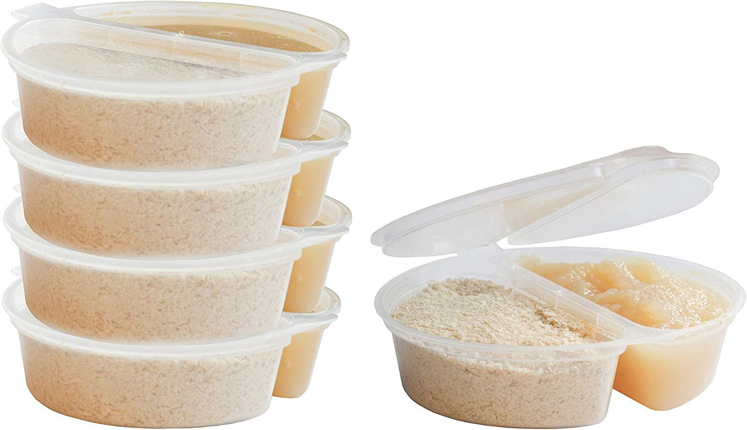 2-Compartment BPA-Free Disposable Food and Snack Freezer Storage Containers with Hinged Lids (3.5 oz 50 Pack)   Travel Snack Cups   Store Homemade, Organic Purees   Freezer Dishwasher Safe