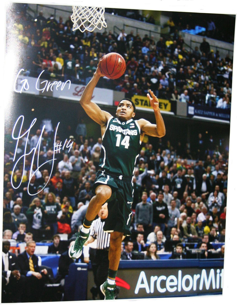 Gary Harris Michigan State Spartans NCAA 16x20 Inscribed Autographed Photograph Green Jersey