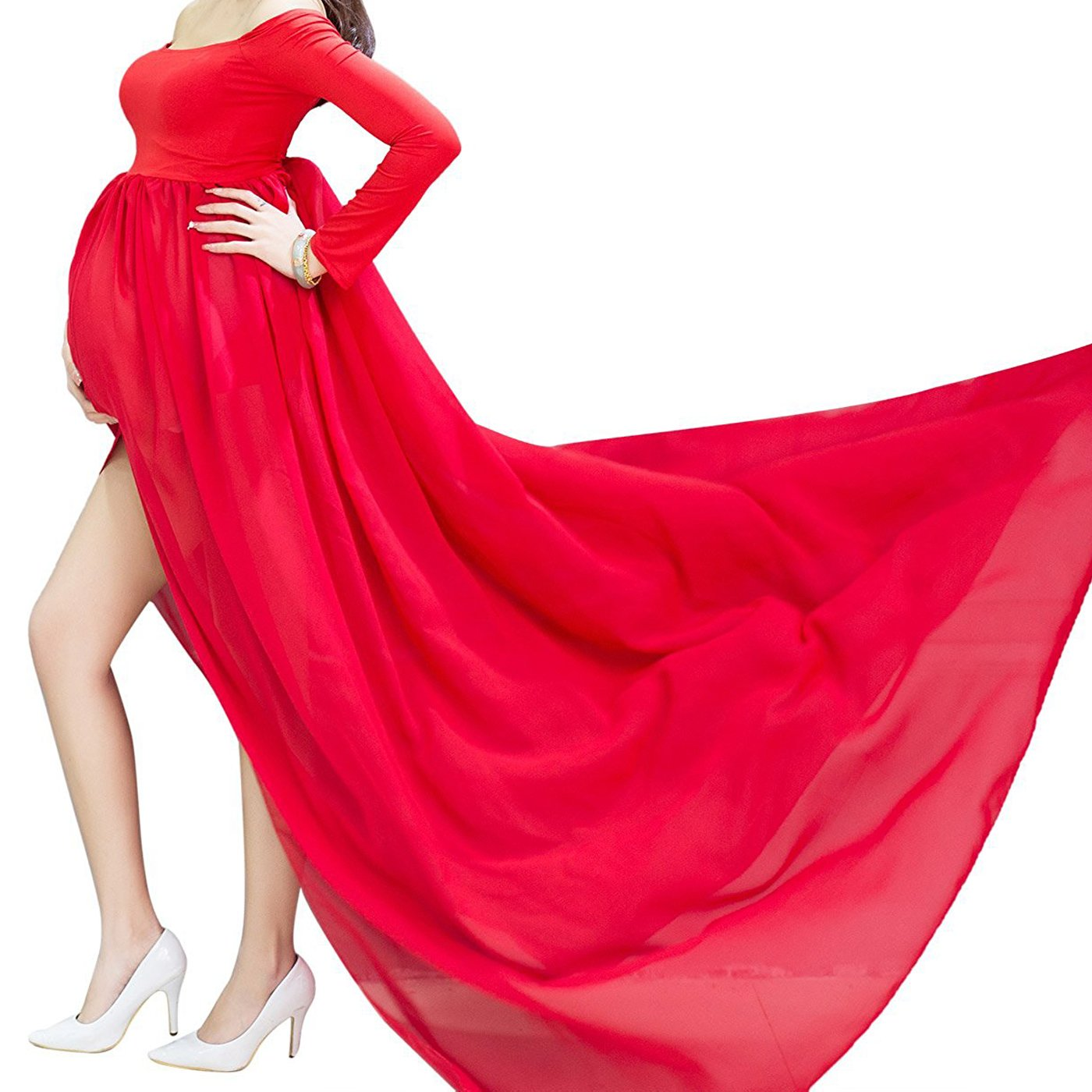 Eagsouni Maternity Maxi Chiffon Photography Dress Gown Open Split Front Long Sleeve for Pregnancy Photo Shoot Props YWJ-FS0291KGR-XXX