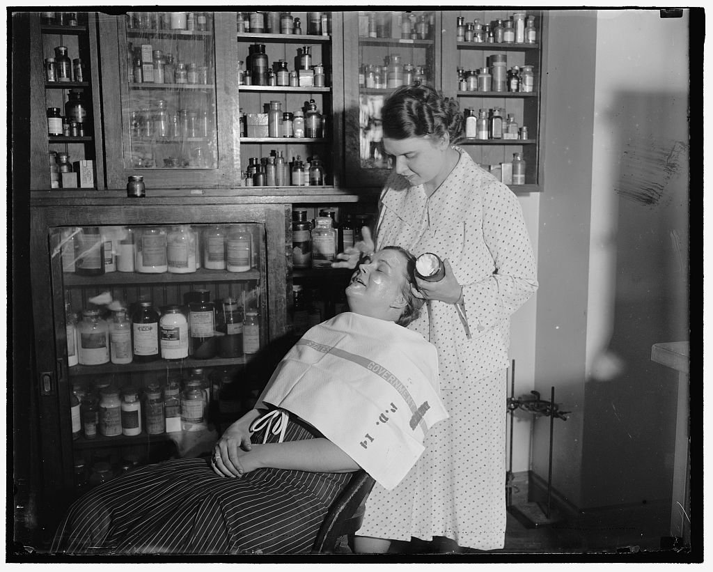 Reproduced 24 x 30 Photo of: Testing Cosmetics. Washington D.C. July 10. The Department Of Agriculture Is Making Tests Everyday In Order To Get Cosmetics Under The Pure Food An 1937 Harris & Ewing a18