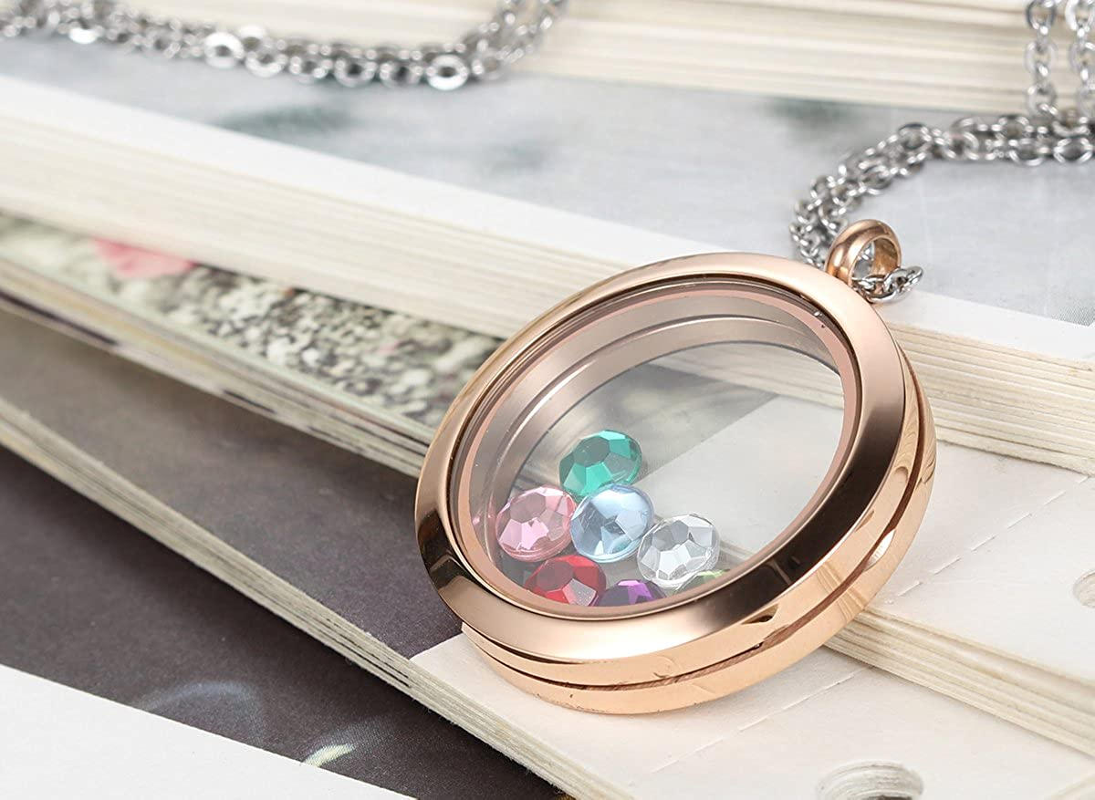 Flongo Floating Charms Locket Pendant 18 inch Chain Womens Girls Circle Magnetic Stainless Steel Memory Floating Charms Locket Pendant Necklace Transparent Frame Locket Pendant Necklace
