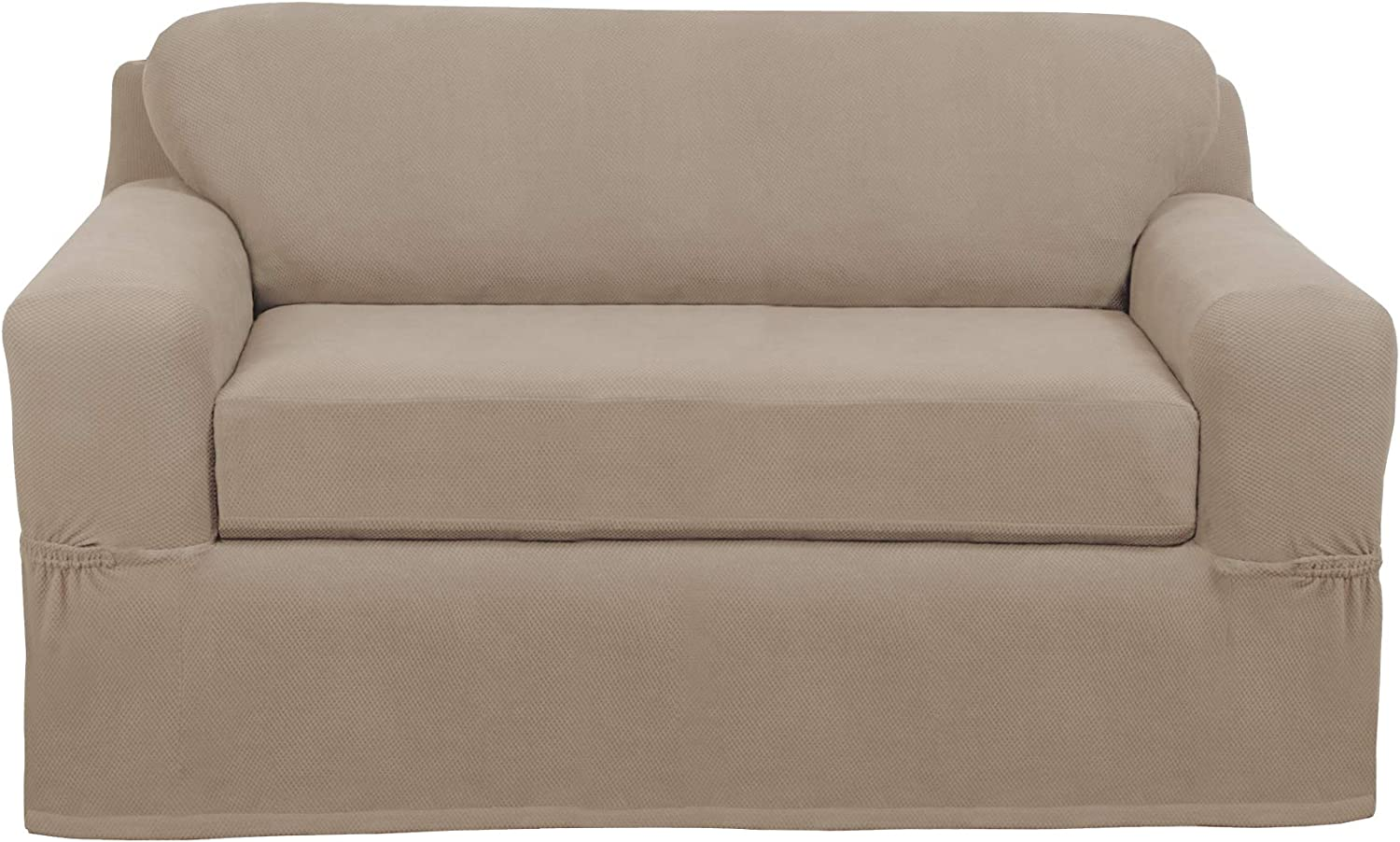 MAYTEX Pixel Ultra Soft Stretch 2 Piece Furniture Cover Loveseat Slipcover, Sand