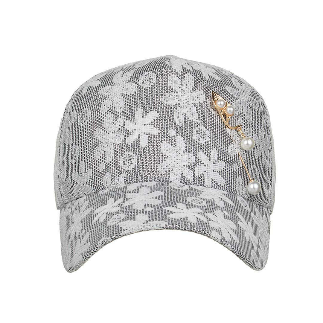 BAIELFES Summer Season Leisure Style Flower Hat with Peral Pin Snapback Baseball Cap